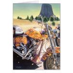 """""""El Diablo"""" Motorcycle in the Desert Watercolor Greeting Card"""