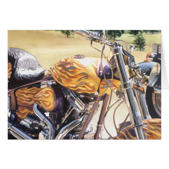 """El Diablo"" motorcycle in the Desert Watercolor Card"