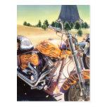 """El Diablo"" Motorcycle in the Desert Watercolor Postcard"