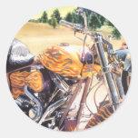 """El Diablo"" motorcycle in the Desert Watercolor Classic Round Sticker"