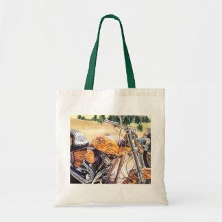 """El Diablo"" Motorcycle in the Desert Watercolor Tote Bag"