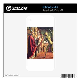 El diablo ofrece el libro de vicios al santo iPhone 4 calcomanías
