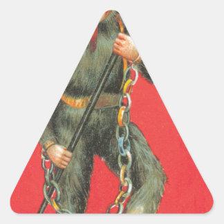 El diablo pegatina triangular