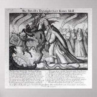 El diablo que lleva al papa en cadenas 1680 impresiones