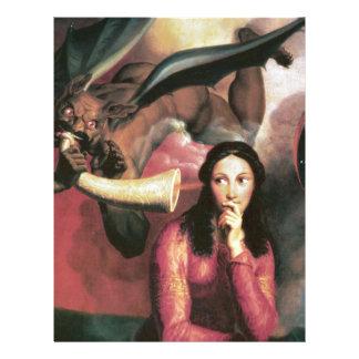 El diablo que tienta a una mujer joven membrete