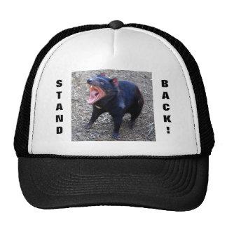 ¡El diablo tasmano retrocede! Gorras De Camionero