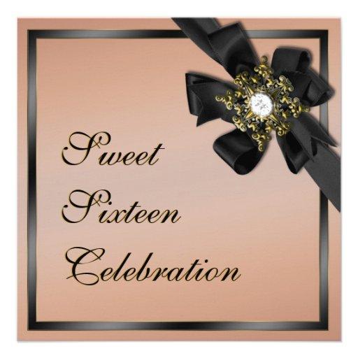 El diamante de color topo y negro arqueado invita comunicado