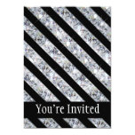 El diamante negro y chispeante tiene gusto de invitación 12,7 x 17,8 cm
