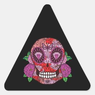 El diamante rosado del cráneo del azúcar del pegatina triangular
