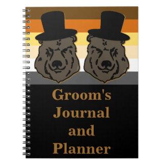El diario del novio del oso y oro y negro del spiral notebooks