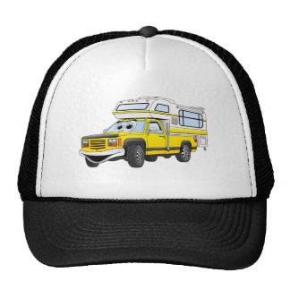 El dibujo animado amarillo coge el campista gorras
