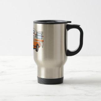 El dibujo animado anaranjado coge el campista taza de café