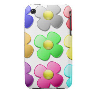 El dibujo animado colorido florece la Funda-Estera iPhone 3 Case-Mate Funda