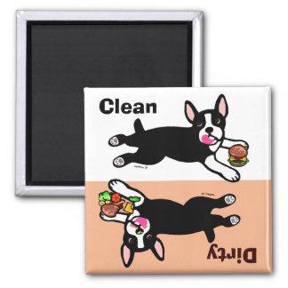 El dibujo animado de Boston Terrier sucio/limpia Iman Para Frigorífico