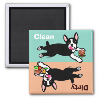 El dibujo animado de Boston Terrier sucio/limpia Iman De Frigorífico