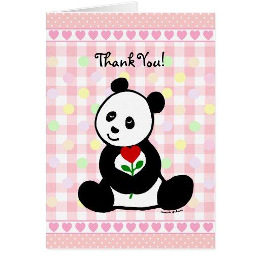 El dibujo animado de la panda y una flor del tarjeta de felicitación