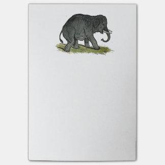 El dibujo animado de los niños grises del elefante post-it notas