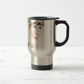 El dibujo animado del cocinero que da los pulgares tazas de café