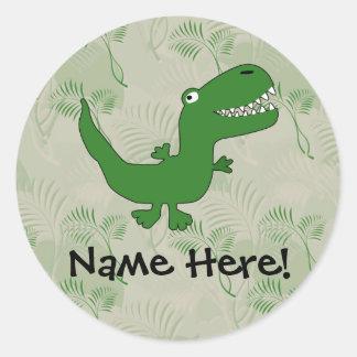 El dibujo animado del dinosaurio de Rex del Pegatina Redonda