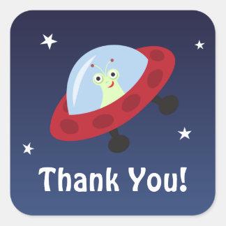 El dibujo animado del espacio le agradece los calcomania cuadrada personalizada