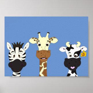 El dibujo animado divertido de la vaca de la póster