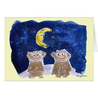 El dibujo animado feliz de Bananaversary Monkeys N Tarjeton