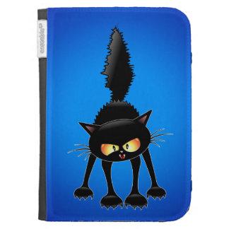 El dibujo animado feroz divertido del gato negro e