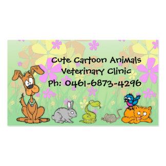 El dibujo animado lindo acaricia al veterinario tarjetas de negocios