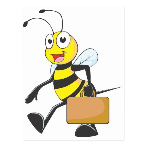 El dibujo animado lindo de la abeja lleva al postal