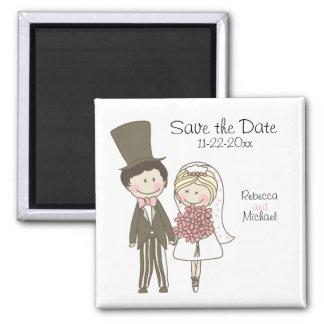El dibujo animado lindo de novia y del novio ahorr iman