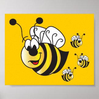 El dibujo animado lindo manosea abejas póster