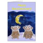 El dibujo animado lindo Monkeys la tarjeta del ani