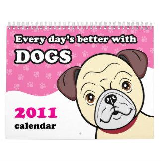 El dibujo animado lindo persigue el calendario