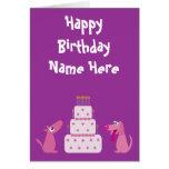 El dibujo animado lindo persigue la púrpura animal tarjetas
