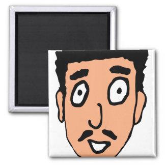 El dibujo animado malo coge la línea individuo fan iman de frigorífico