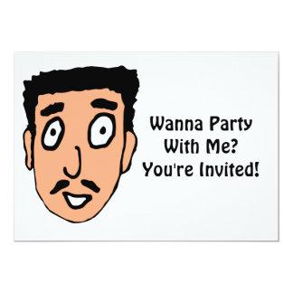 El dibujo animado malo coge la línea individuo invitación 12,7 x 17,8 cm