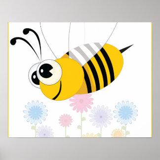 El dibujo animado manosea la abeja y las flores póster