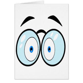 El dibujo animado observa con los vidrios tarjeta de felicitación