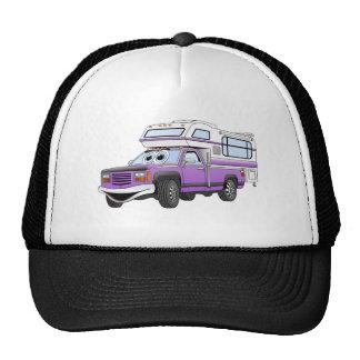 El dibujo animado púrpura coge el campista gorras de camionero