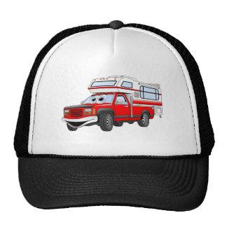 El dibujo animado rojo coge el campista gorras de camionero