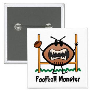 El dibujo animado se divierte al monstruo enojado pin cuadrado