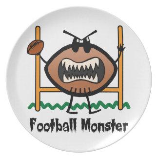 El dibujo animado se divierte al monstruo enojado plato de comida