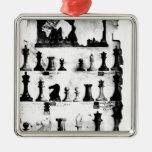 El dibujo de la patente de las piezas de ajedrez adorno navideño cuadrado de metal