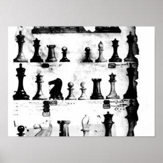 El dibujo de la patente de las piezas de ajedrez d póster