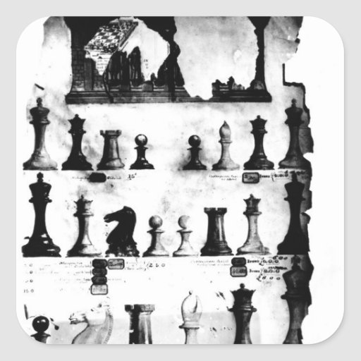 El dibujo de la patente de las piezas de ajedrez calcomanias cuadradas