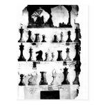 El dibujo de la patente de las piezas de ajedrez postal