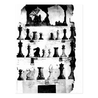 El dibujo de la patente de las piezas de ajedrez tarjetas postales