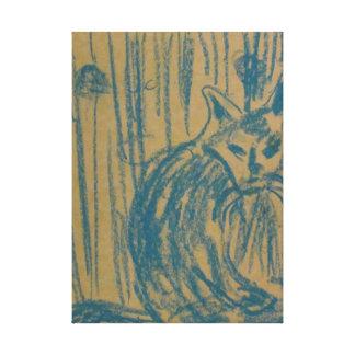 El dibujo del gato azul impresión en lienzo estirada