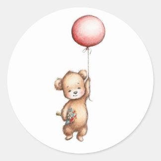 El dibujo del oso de peluche con el globo y Flo Pegatina Redonda