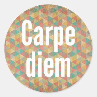 El diem de Carpe, agarra el día, modelo colorido Pegatina Redonda